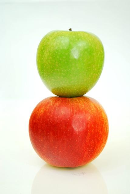 manzanas verde y roja