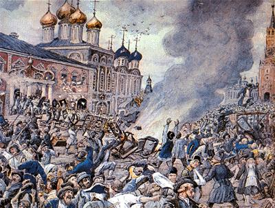 La epidemia de Moscú en 1771 : Durante el curso de la peste de la ciudad, entre 50.000 y 100.000 murieron ( 1.6 a 1.3 de su población)