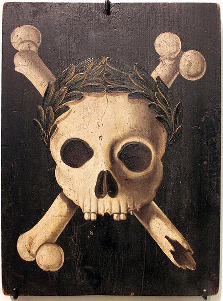 Escudo de Plagas: la muerte coronada como vencedora. 1607-37, Augsburg, Alemania. (Wikipedia Commons)